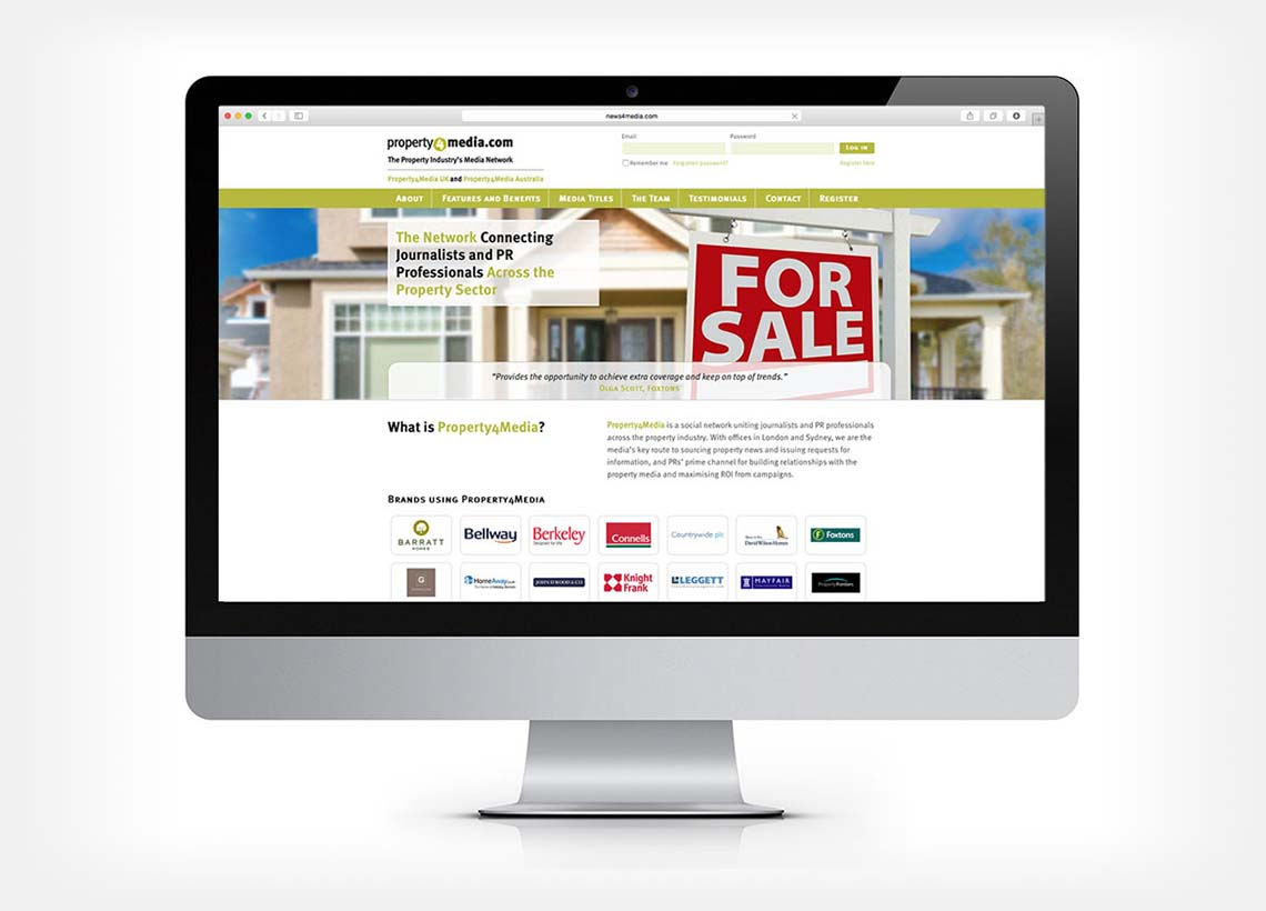 Website design for Property4Media - Home Page